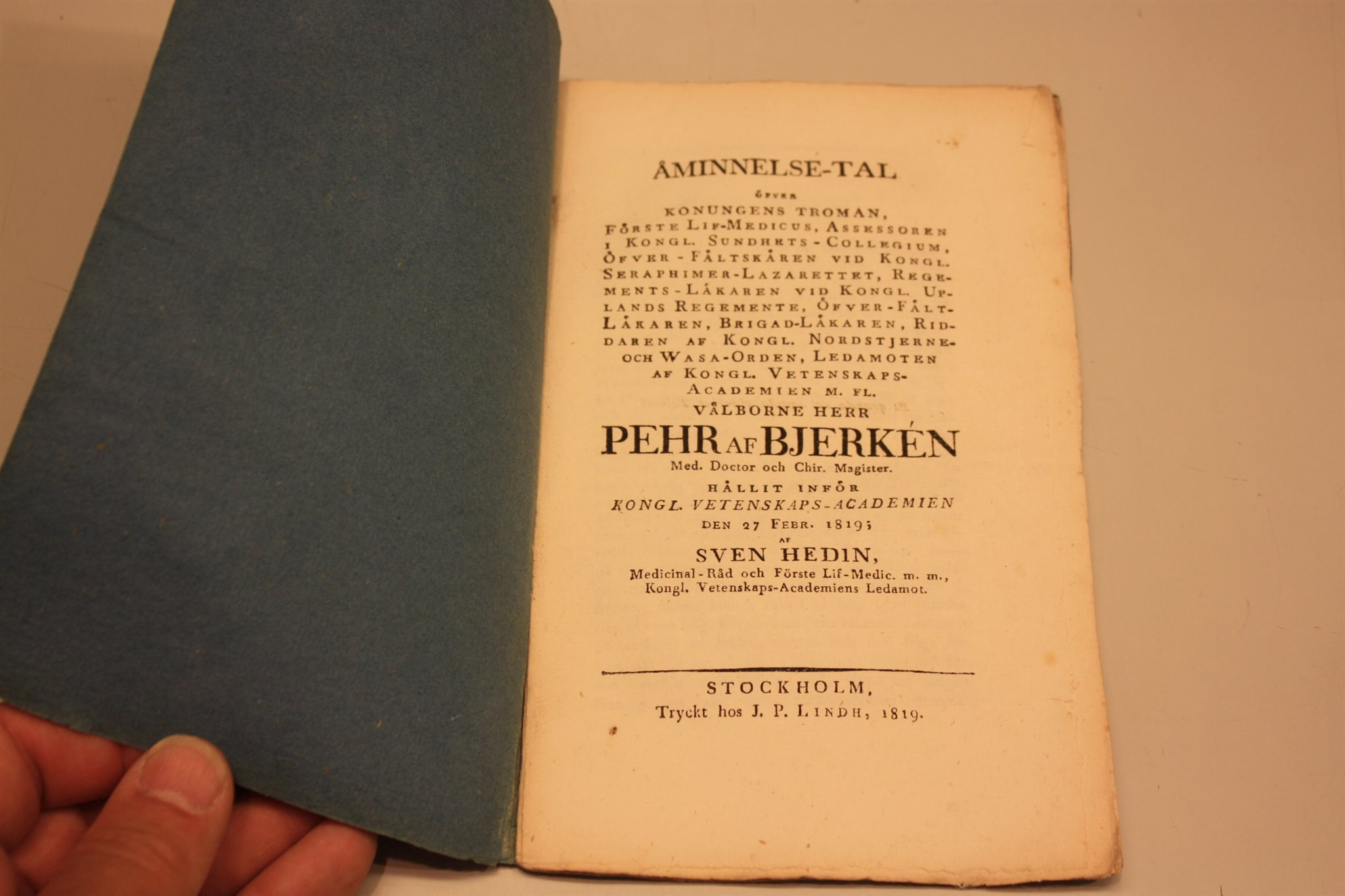 Åminnelsetal hållet i vetenskapsacademien 1819