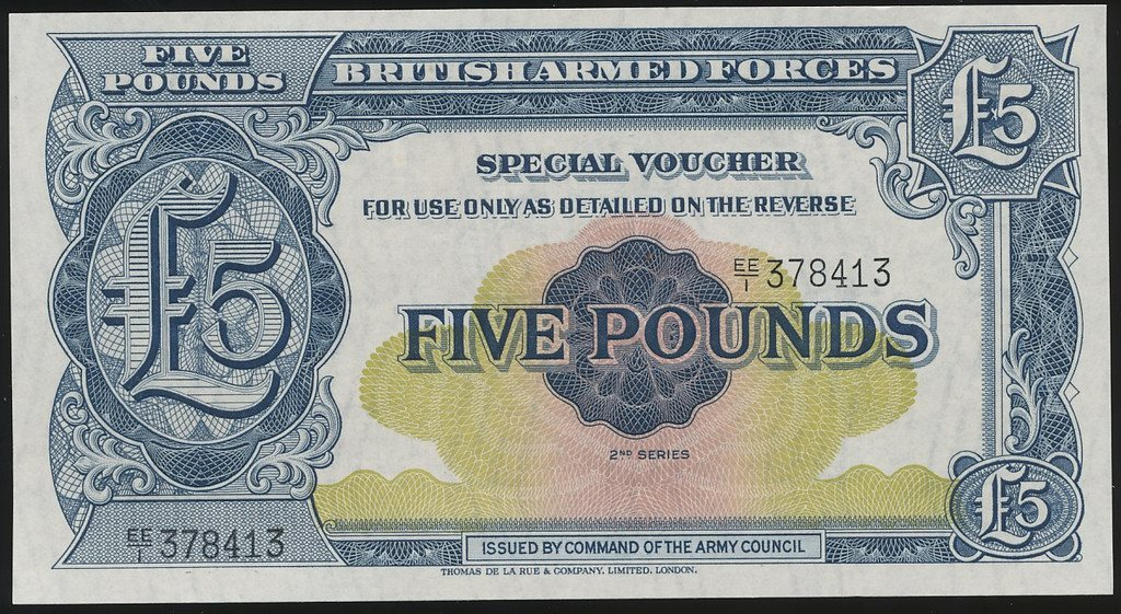 British Armed Forces 5 Pounds 1958 se bild