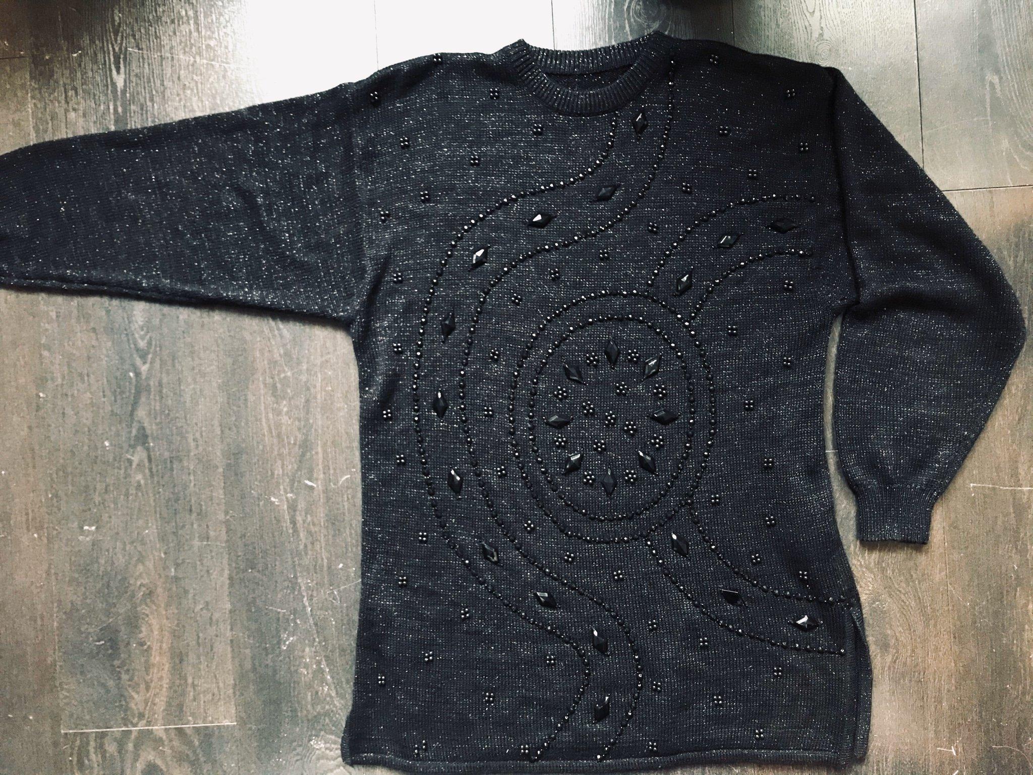 Vintage 80 tal svart stickad tröja jumper klänning med pärlor vinter new wave