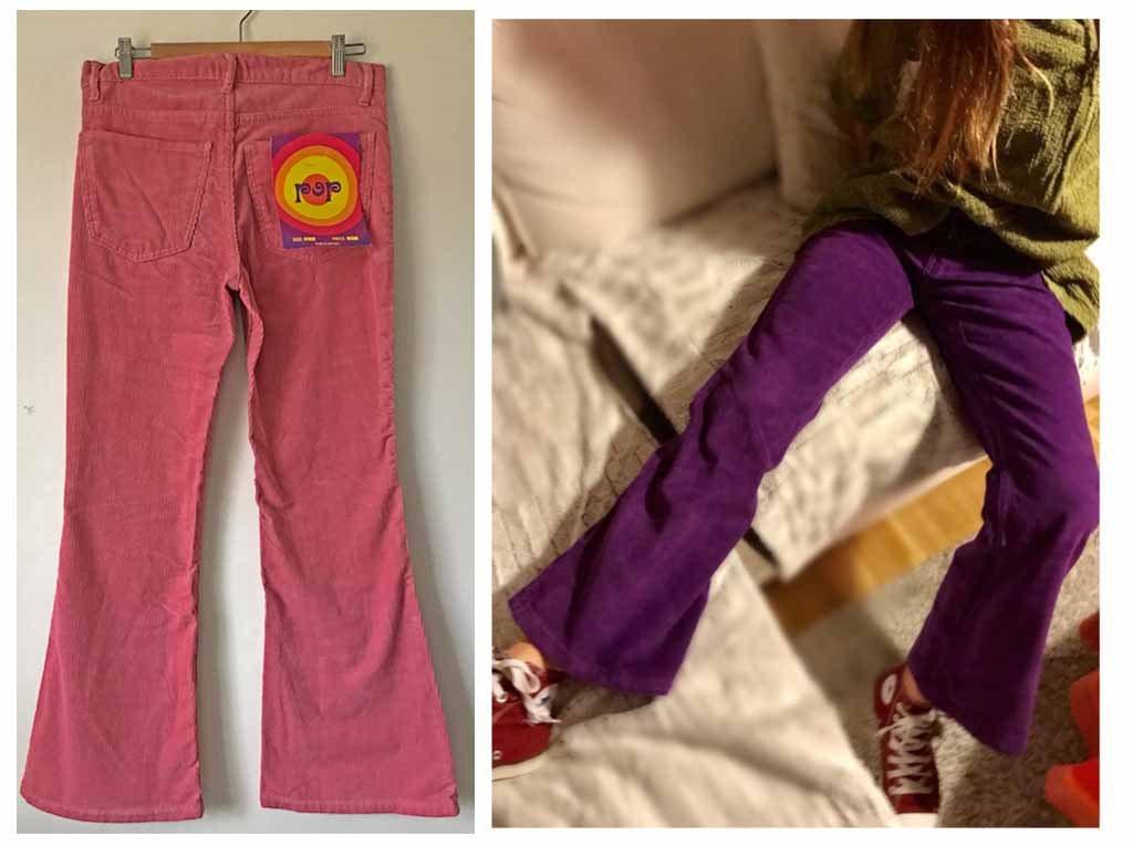 Pop manchesterjeans manchesterjeans manchesterjeans retro rosa manchester jeans bootcut hippie 70-tal byxa 34 382d26