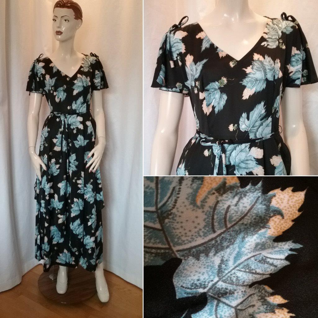 Vintage retro svart långklänning m.. (310254788) ᐈ vintagecorner på ... 41add8196f702