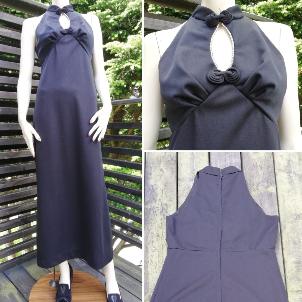 Vintage retro svart klänning cocktailklänning längre med krage och strass  70-tal 86b4678e44852