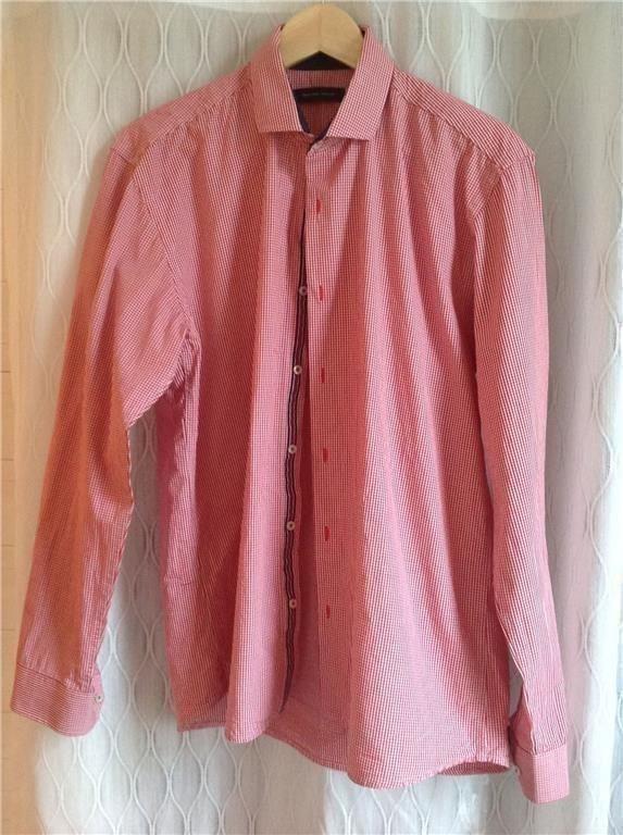 Röd/vit rutig herrskjorta stl L, 42 cm i halsen