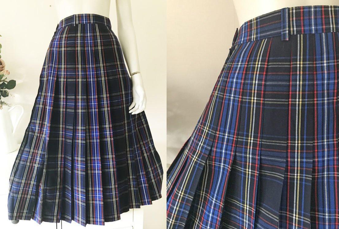 Midikjol vintage blå röd gul kjol skotskrutig plisserad A linje retro randig ull