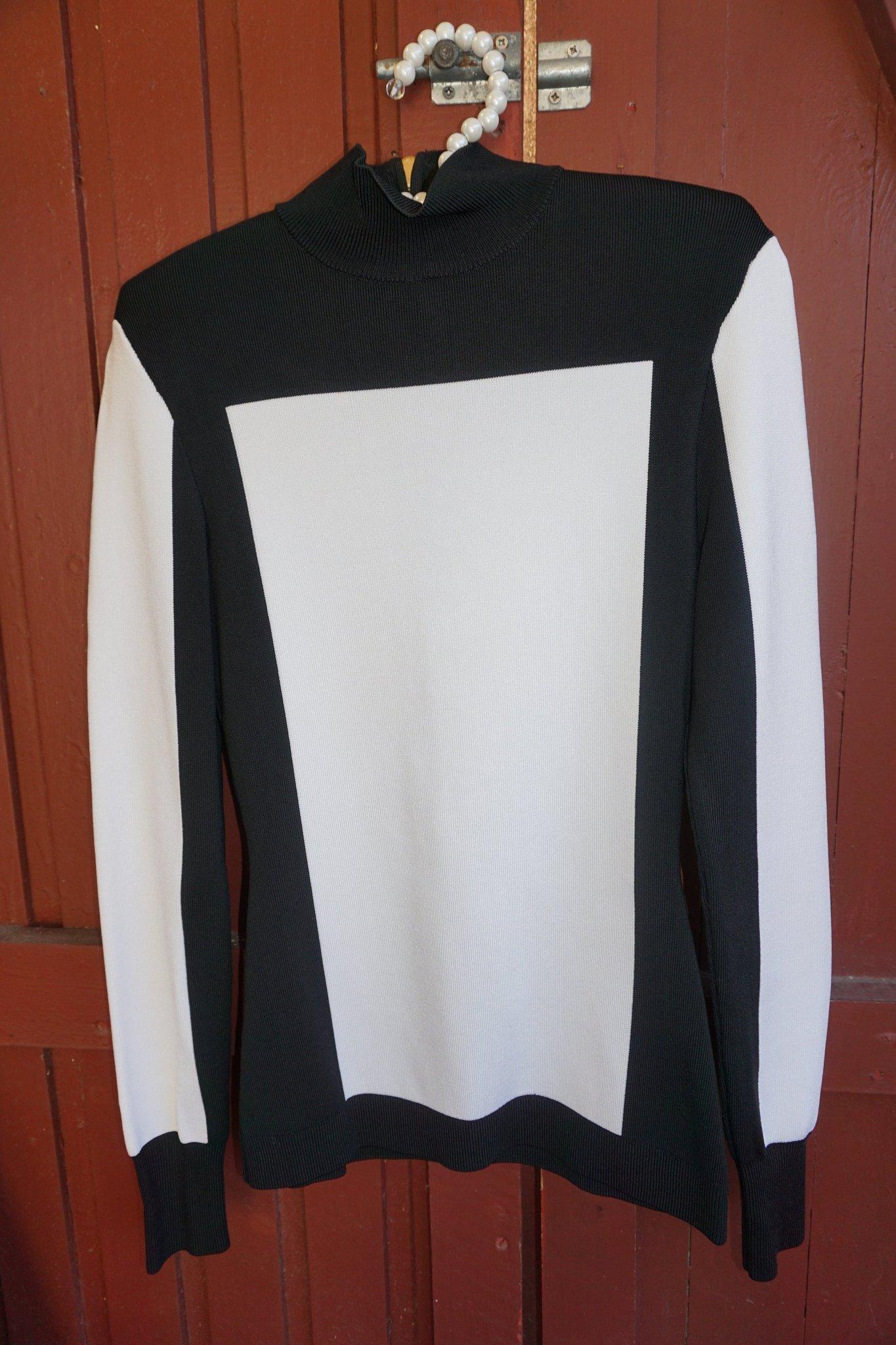 NY! BALMAIN X H&M tröja i svart och vitt med guld dragkedja i ryggen Stl 38