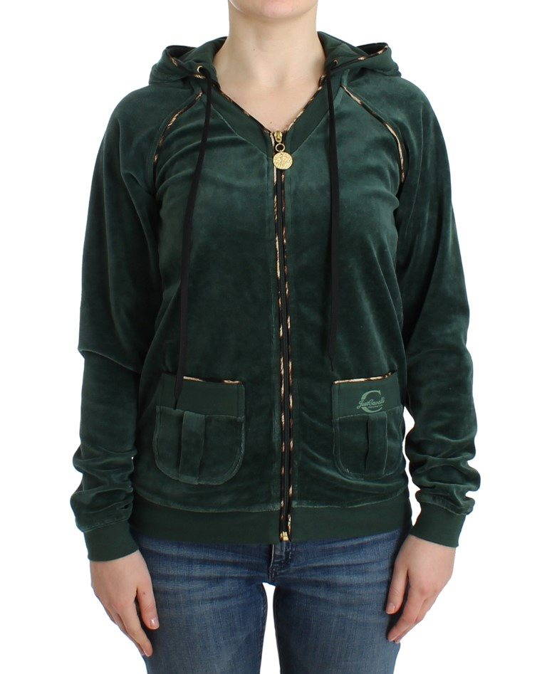 Cavalli - Green velvet zipup sweater