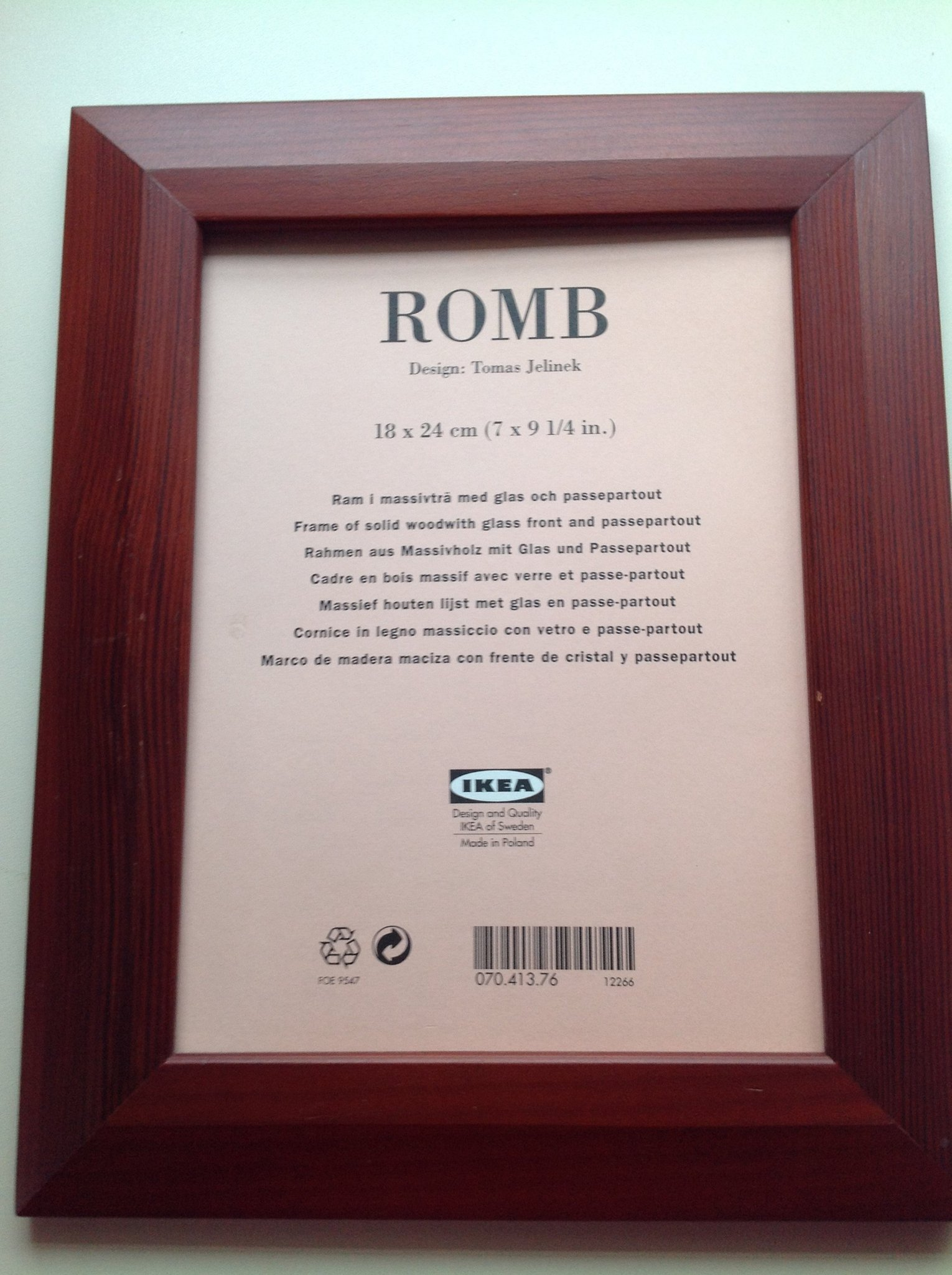 "In Legno Wood Design ikea retro/vintage foto ram i massivtrÄ ""romb"" design tomas jelinek 18 x 24  cm"