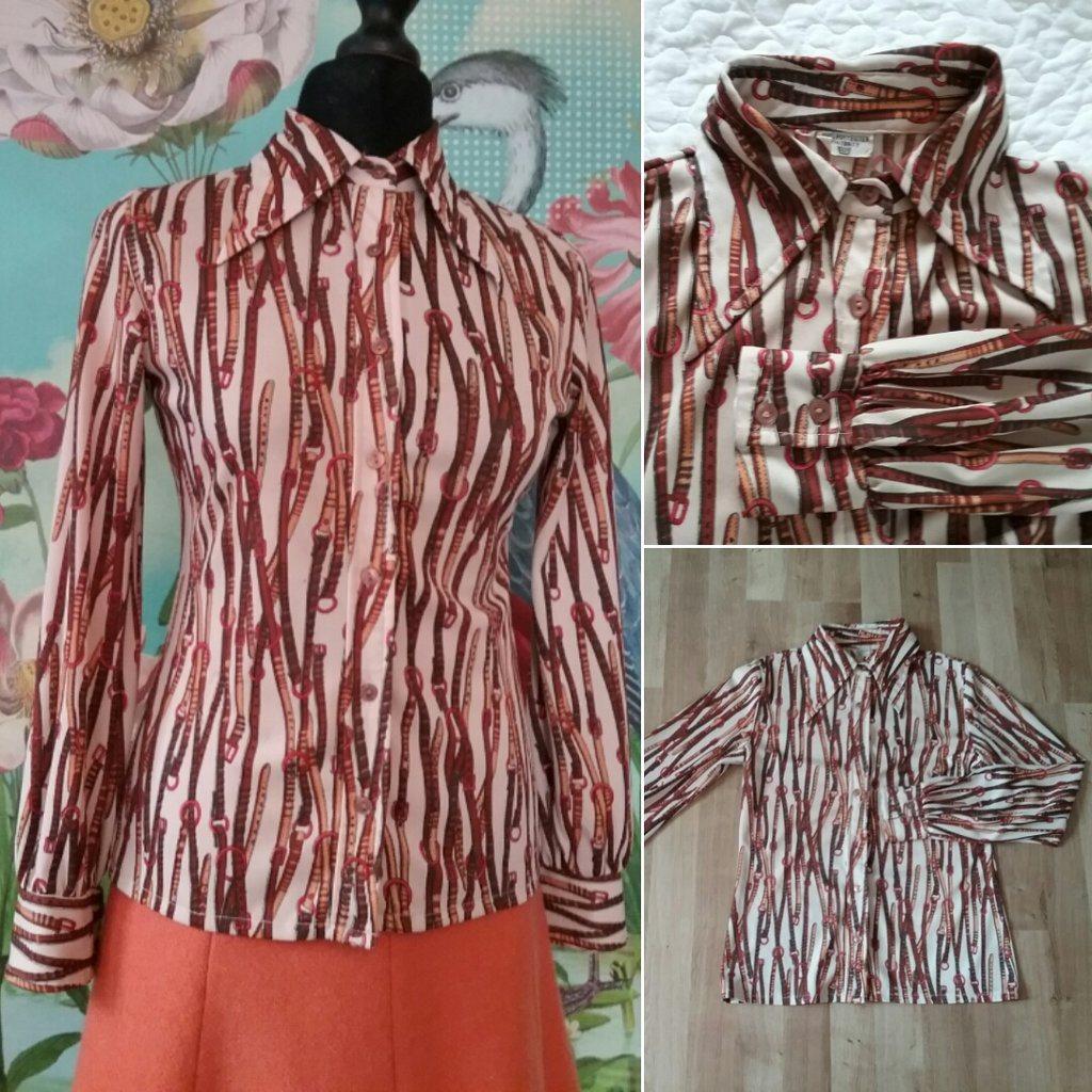 7d25f51d1075 Vintage retro blus skjorta beige m.. (294880222) ᐈ vintagecorner på ...