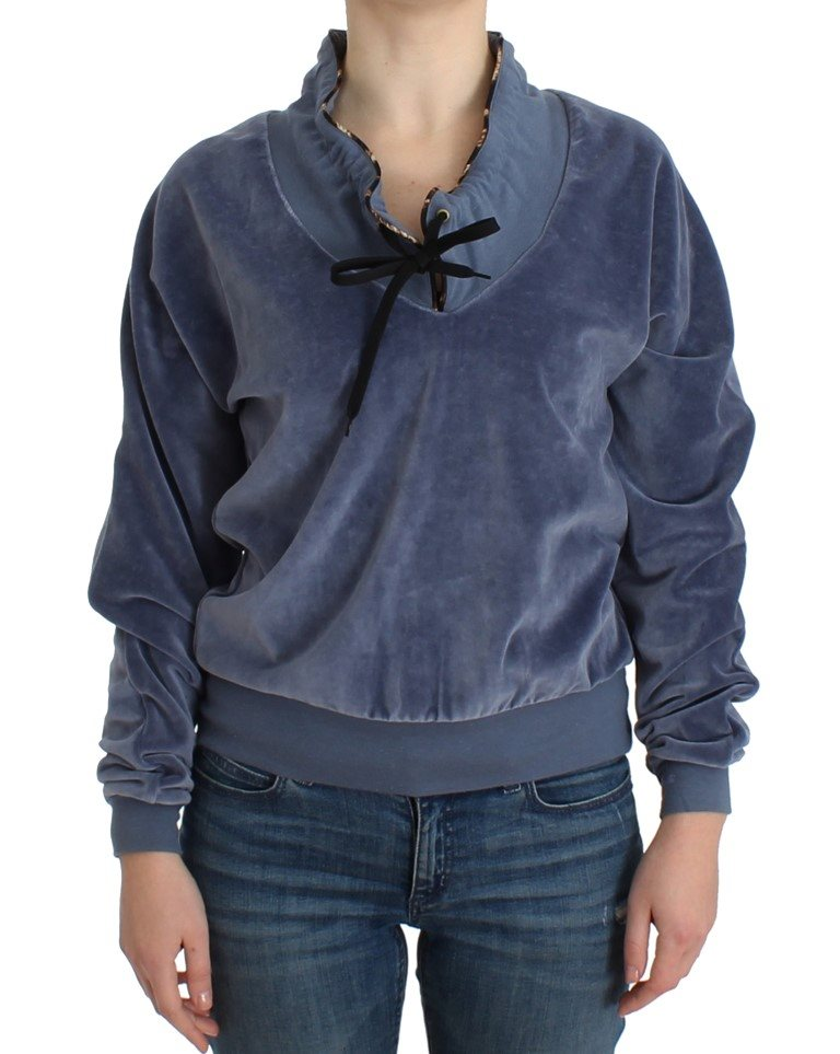 Cavalli - Blue velvet cotton sweater