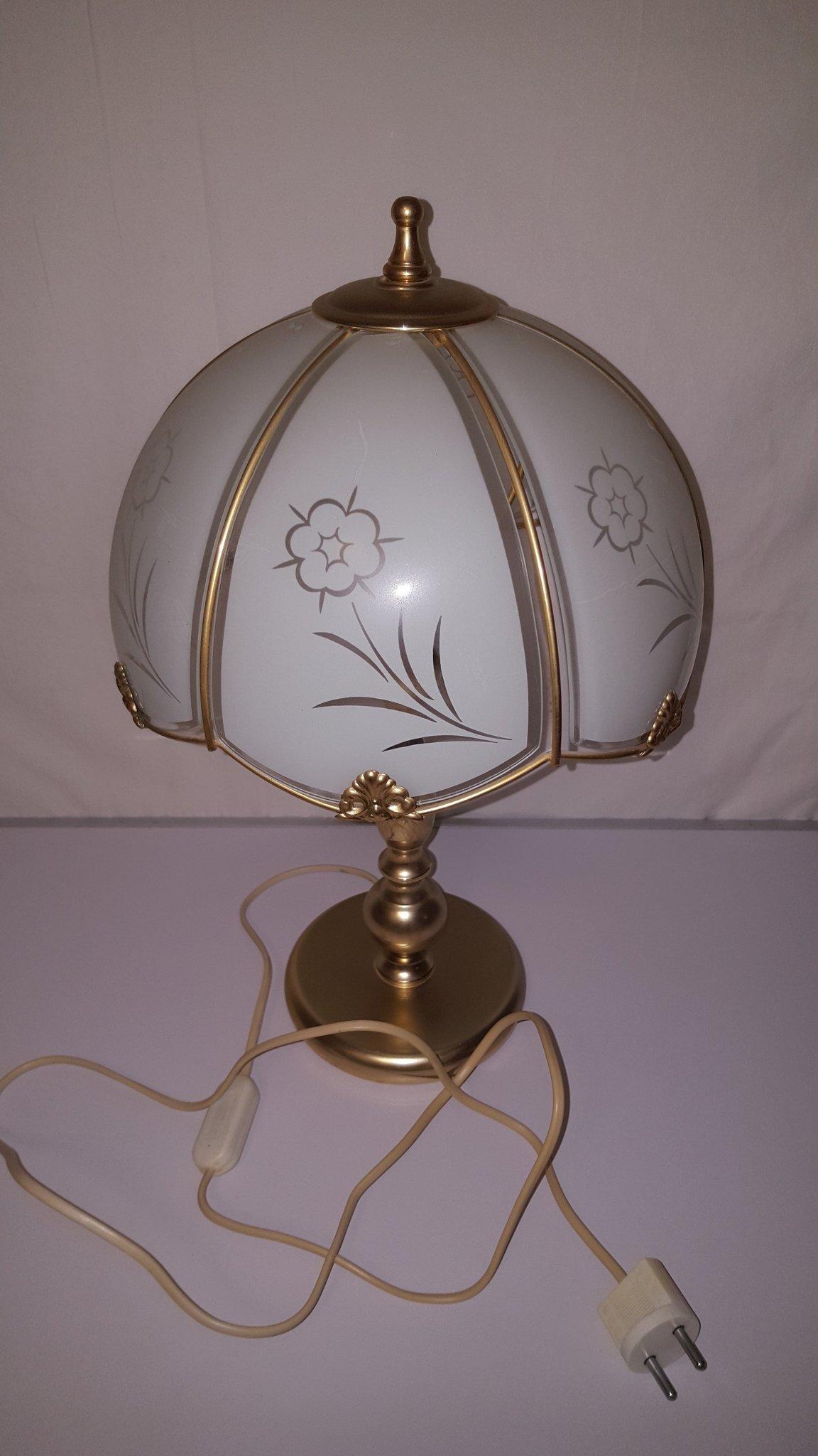 Retro lampa Svensk Raf mässing, glas, höjd 42 cm