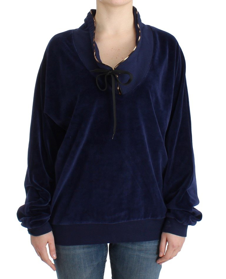 Cavalli - Dark blue velvet cotton sweater