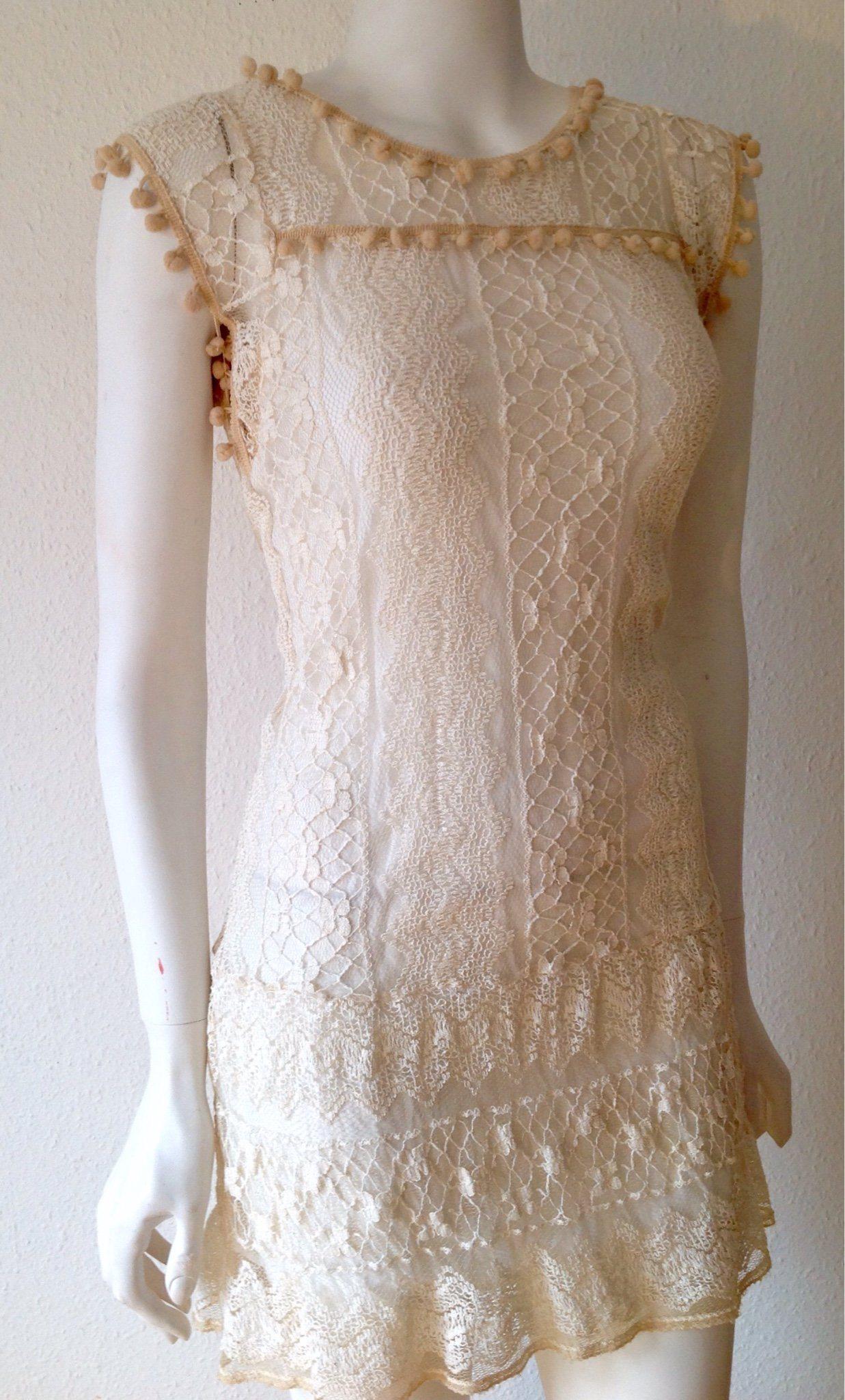 Zanzea Collection Tunika   kort klänning Cream-vit Fodrad spets bollar 34-38 4e5aa0a37ed06