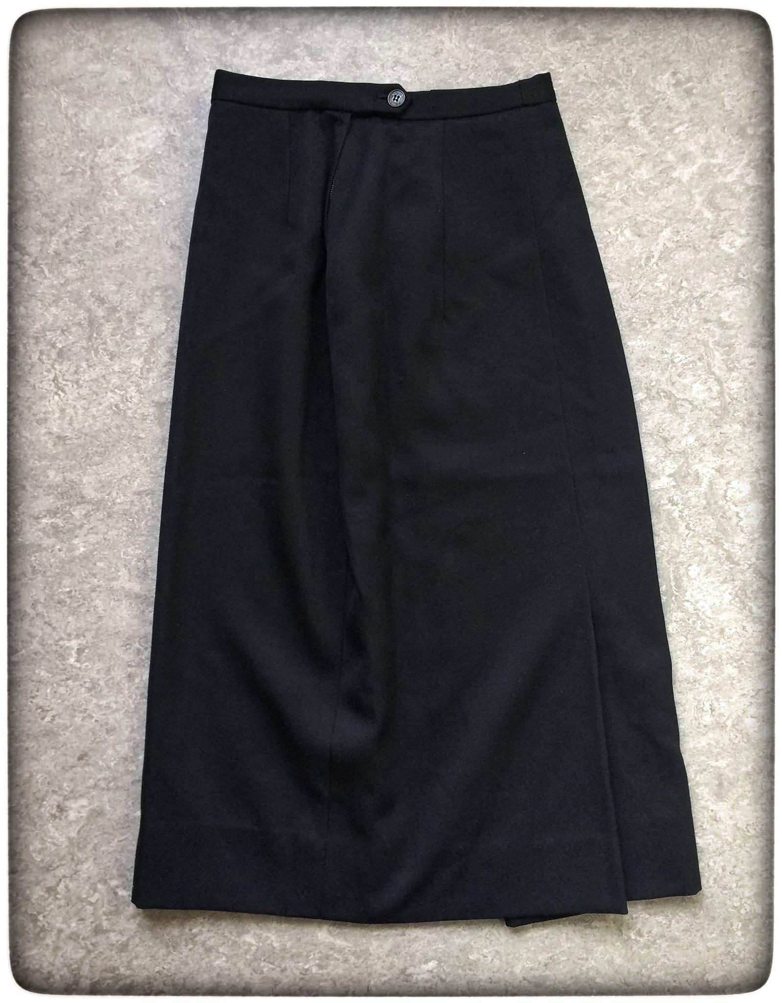 Geborell svart pennkjol stl 34 sprund 1940-tal VINTAGE omlottsprund kjol