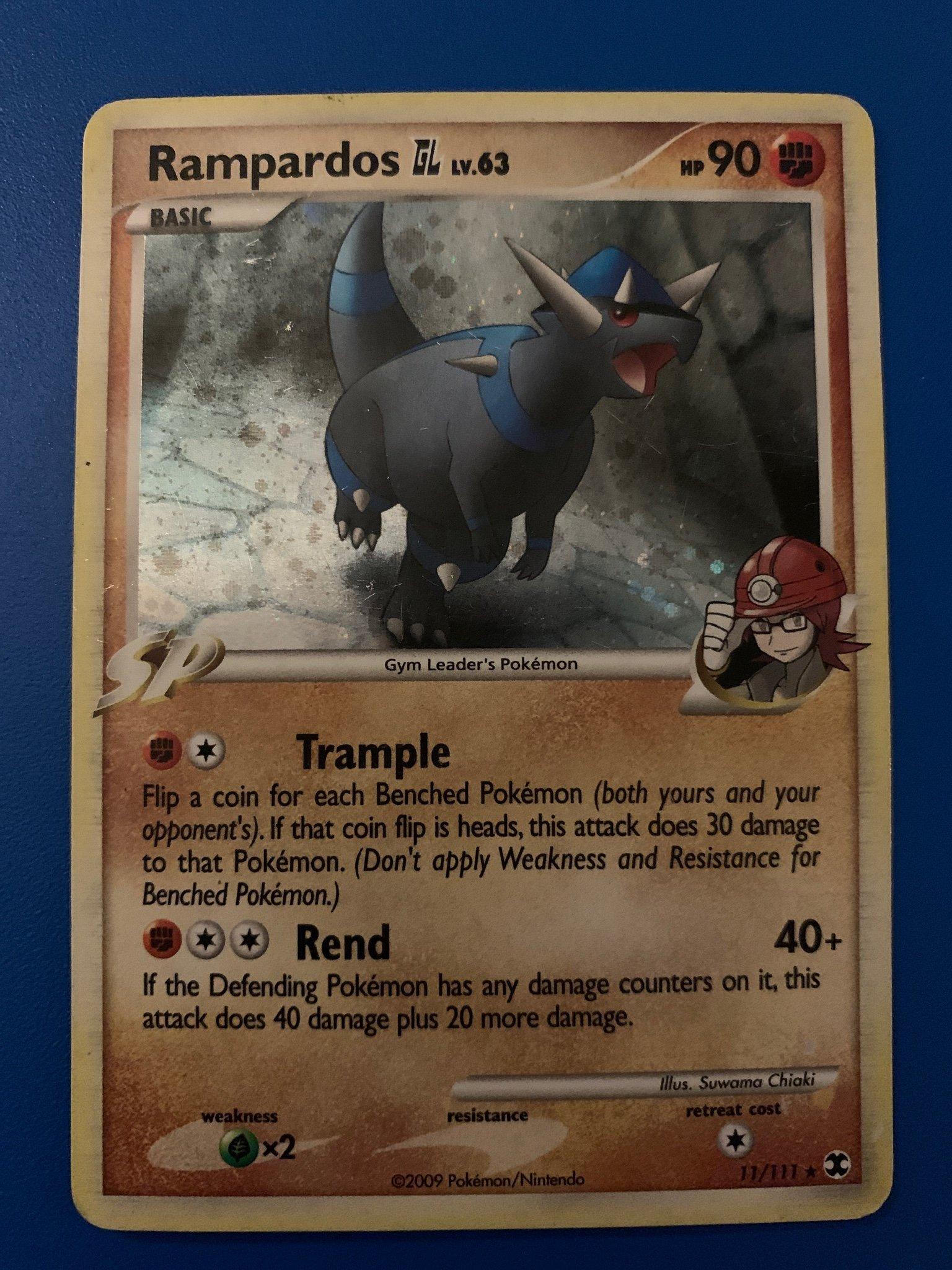 MINT Pokemon RAMPARDOS 11//111 Rising Rivals RARE Rev Holo