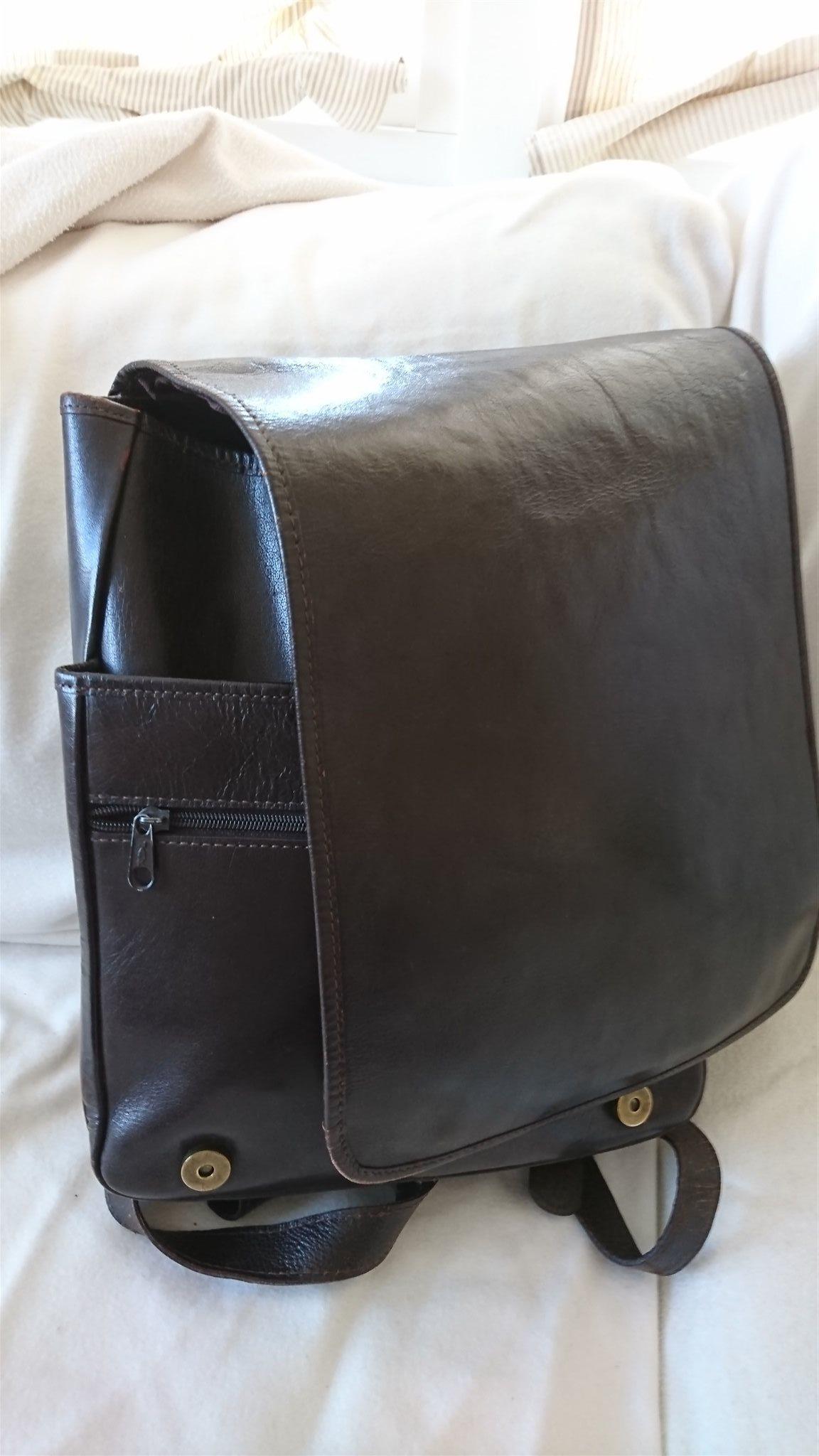 portfölj ryggsäck skinn