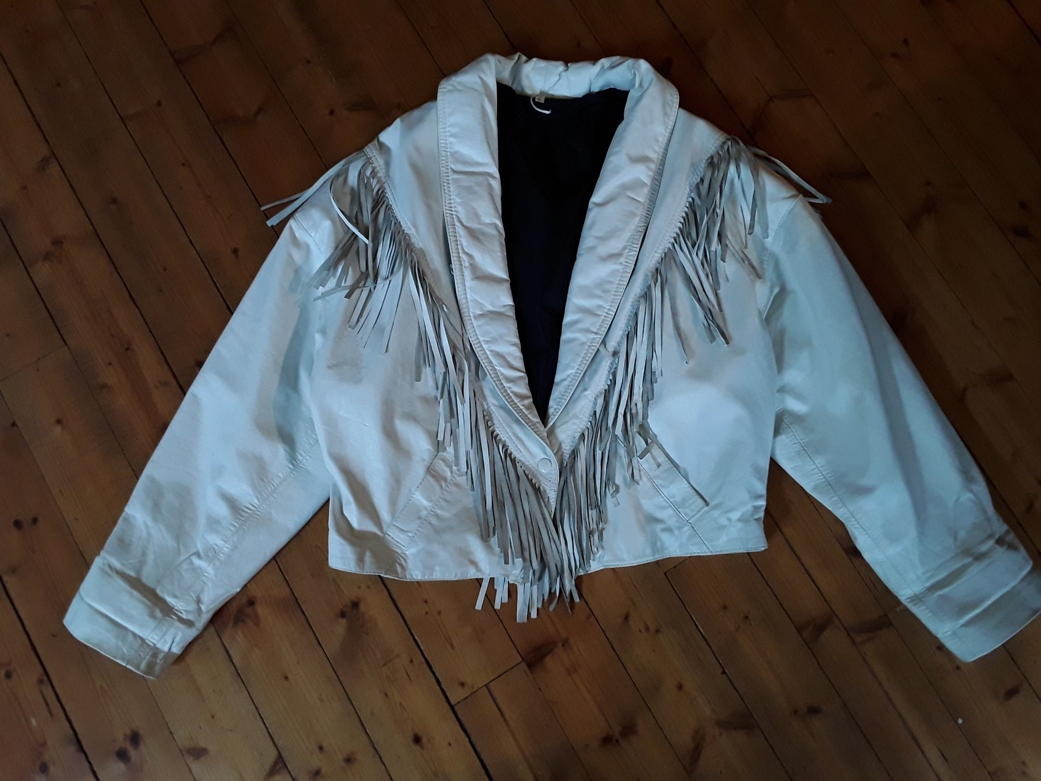 80 tal vintage skinn frans jacka