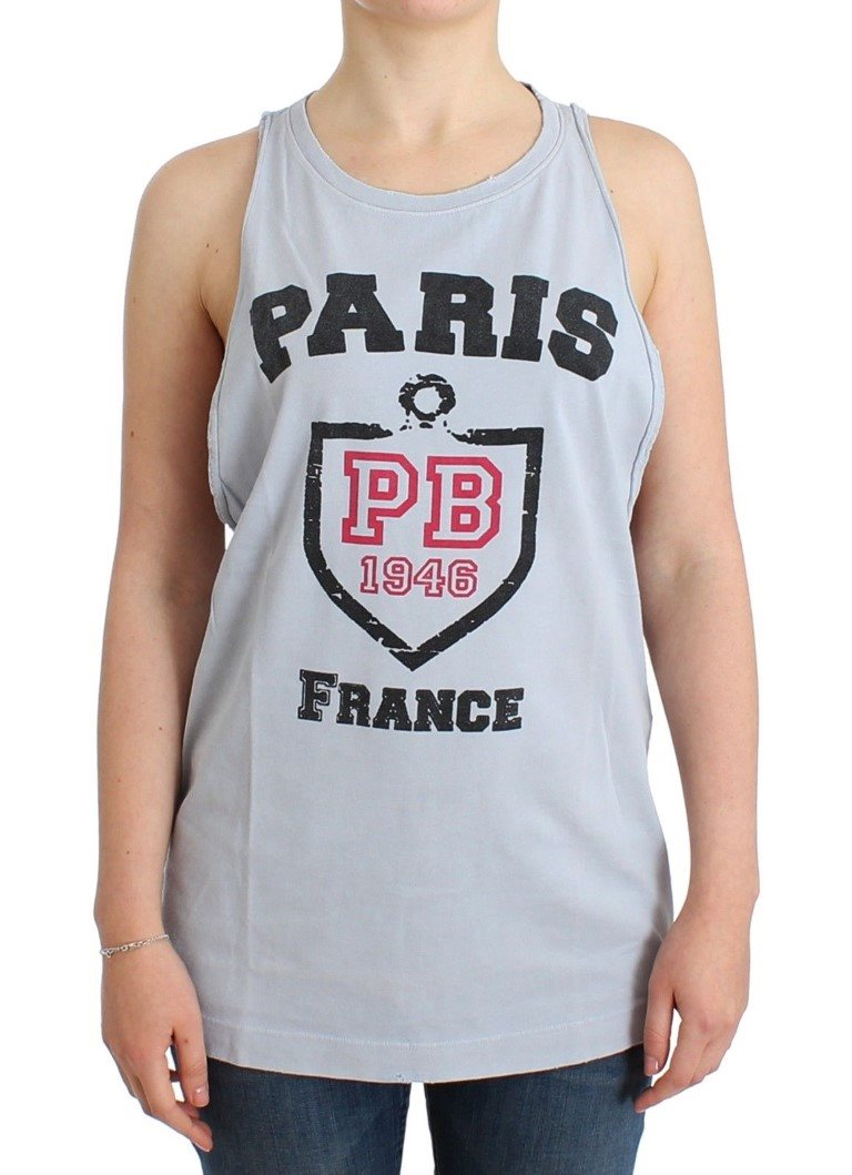 Balmain - Gray branded tank top