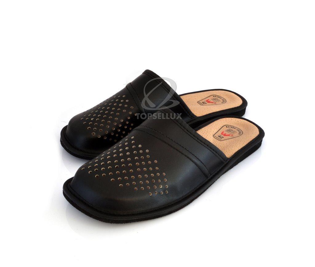 7ffdb6a6e0e Nya svart herr tofflor herrskor toffel skor skinn läder sandaler inneskor  Stl 45 ...