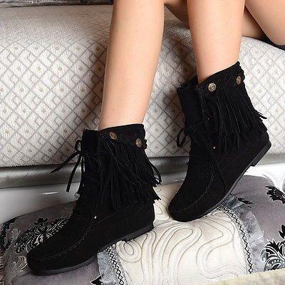 85a73033759 Mockasiner frans stövlar boots fransar svart mocka skor bohem minnetonka 39  40 ...