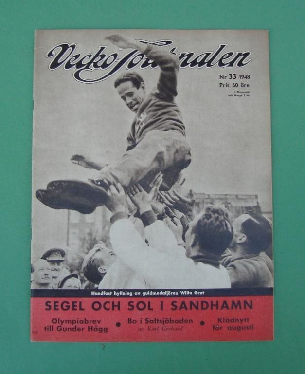 Vecko-Journalen 1948-33. Wille Grut på framsidan.