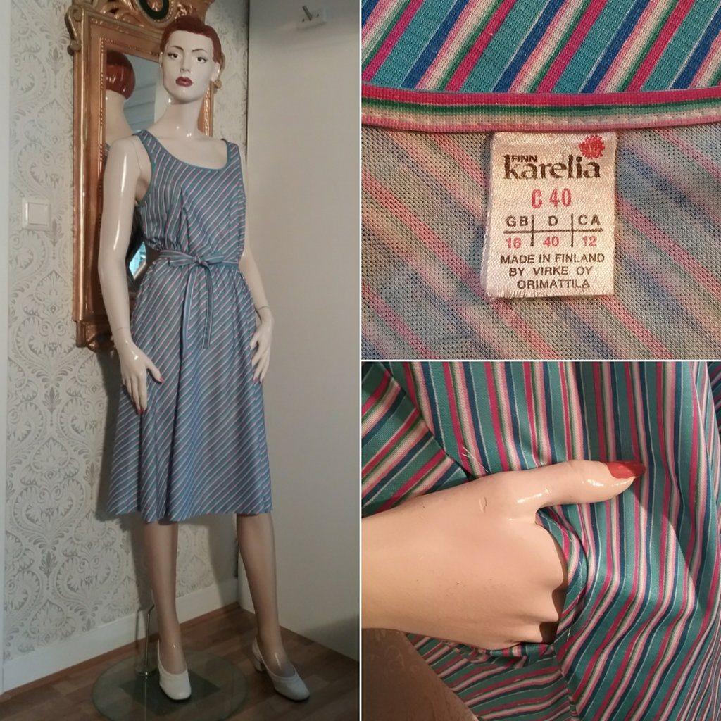 fe13c416f5e6 Vintage retro randig sommarklänning smala axelband blå turkos rosa Finn  Karelia ...