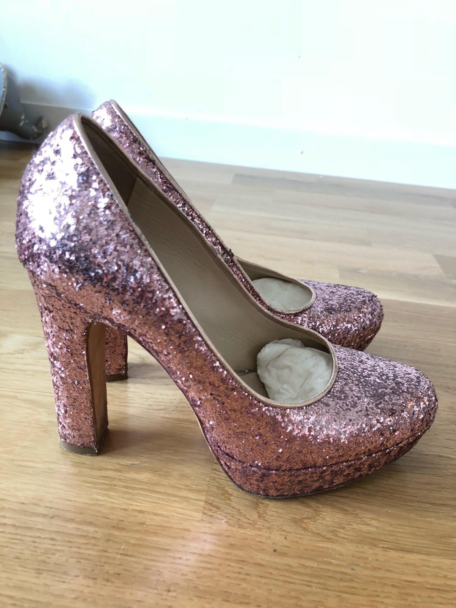 rosa glitter skor