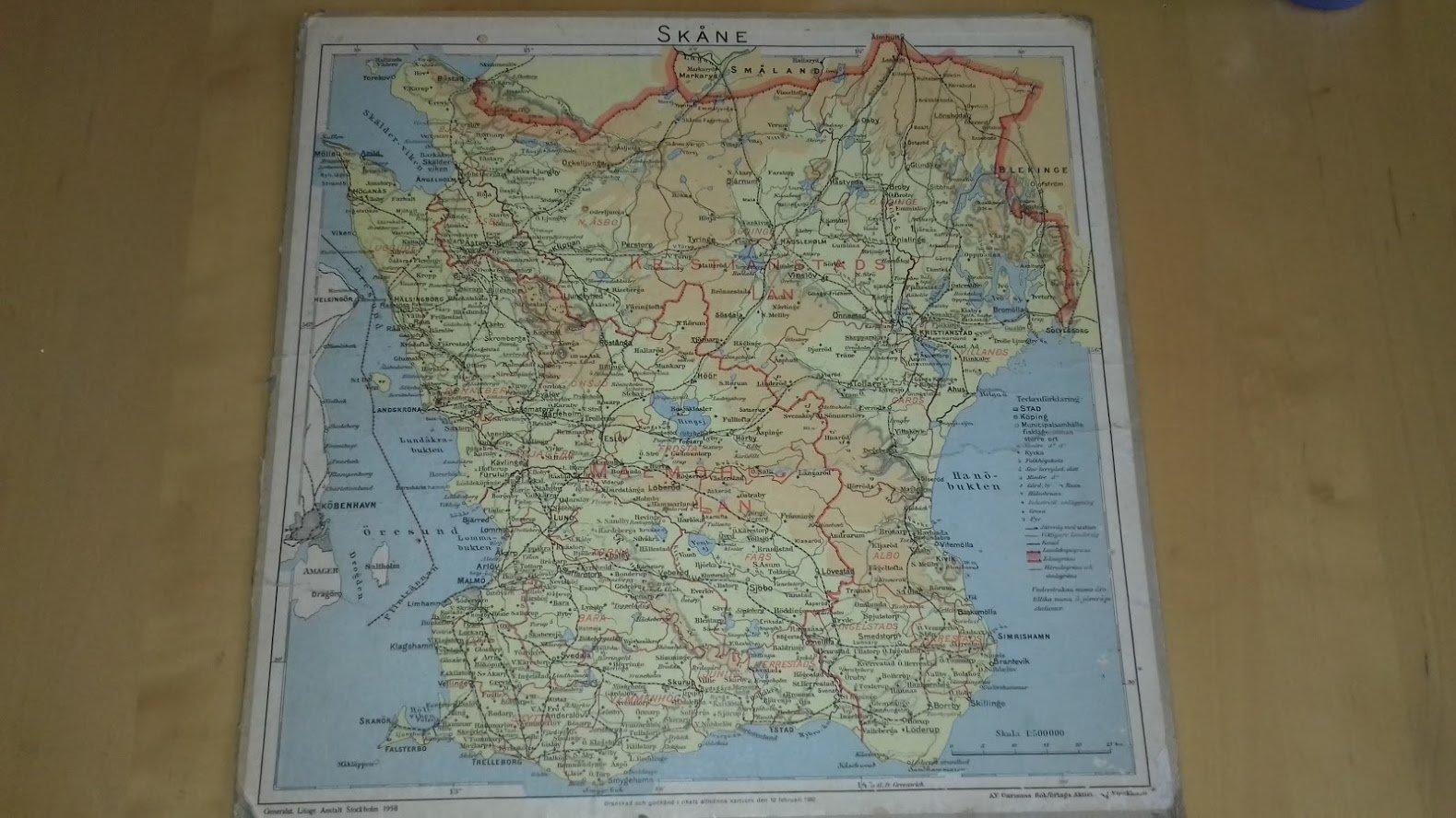 Karta Nordvastra Skane.Gammal Skane Karta 1958 344271694 ᐈ Kop Pa Tradera