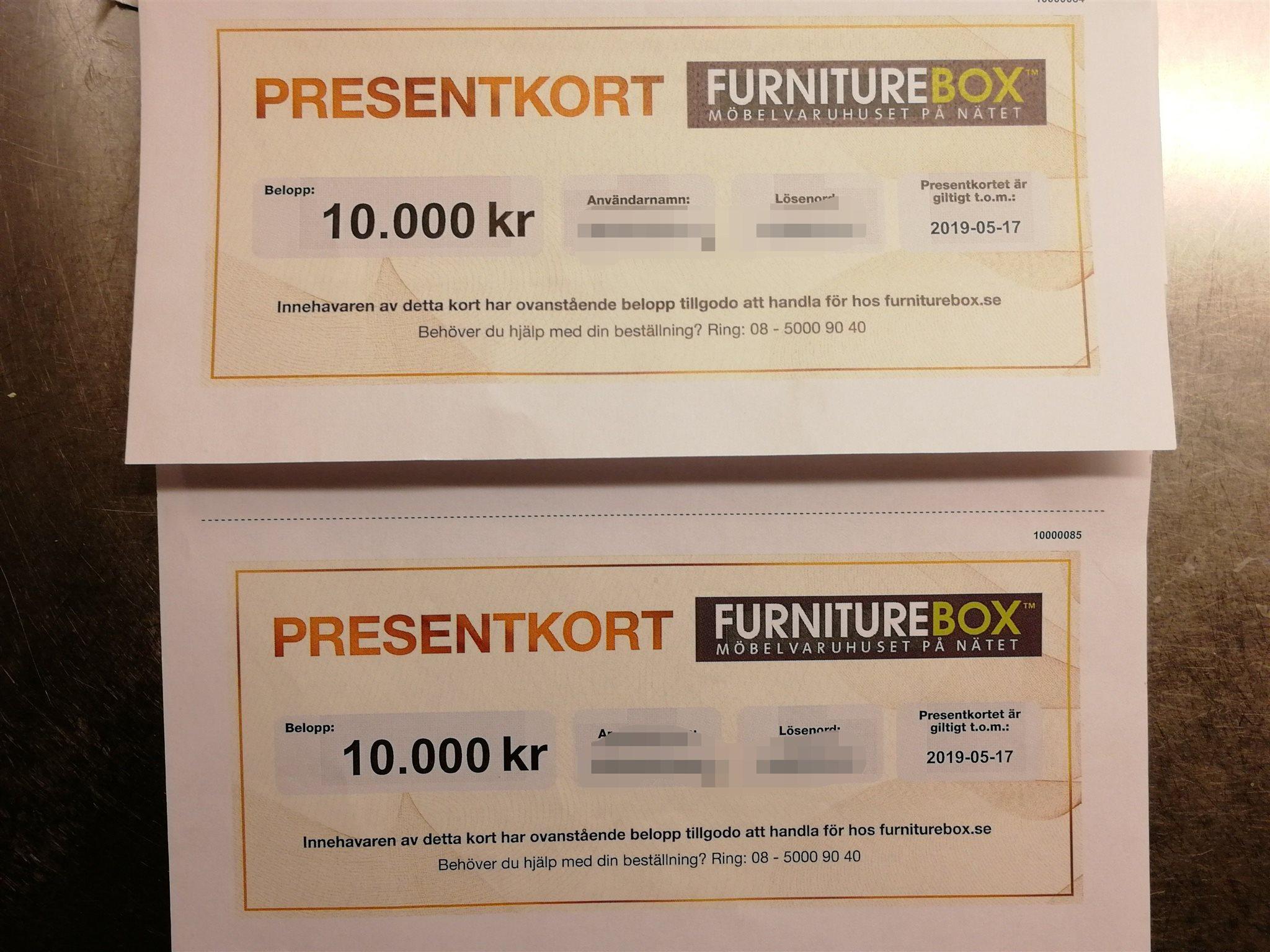 Presentkort på furniturebox (20 000 -) (335773711) ᐈ Köp på Tradera 53817b314a756