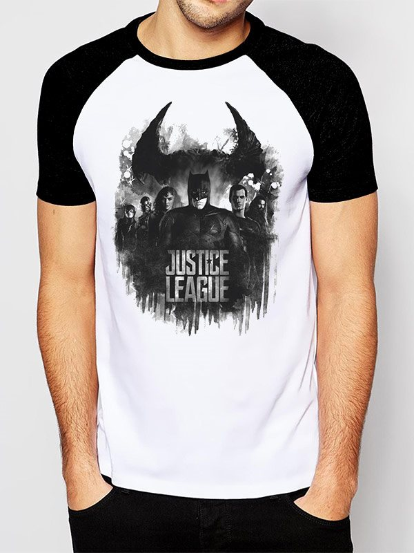 JUSTICE LEAGUE MOVIE - GROUP AND LOGO (UNISEX RAGLAN) - Extra-Large