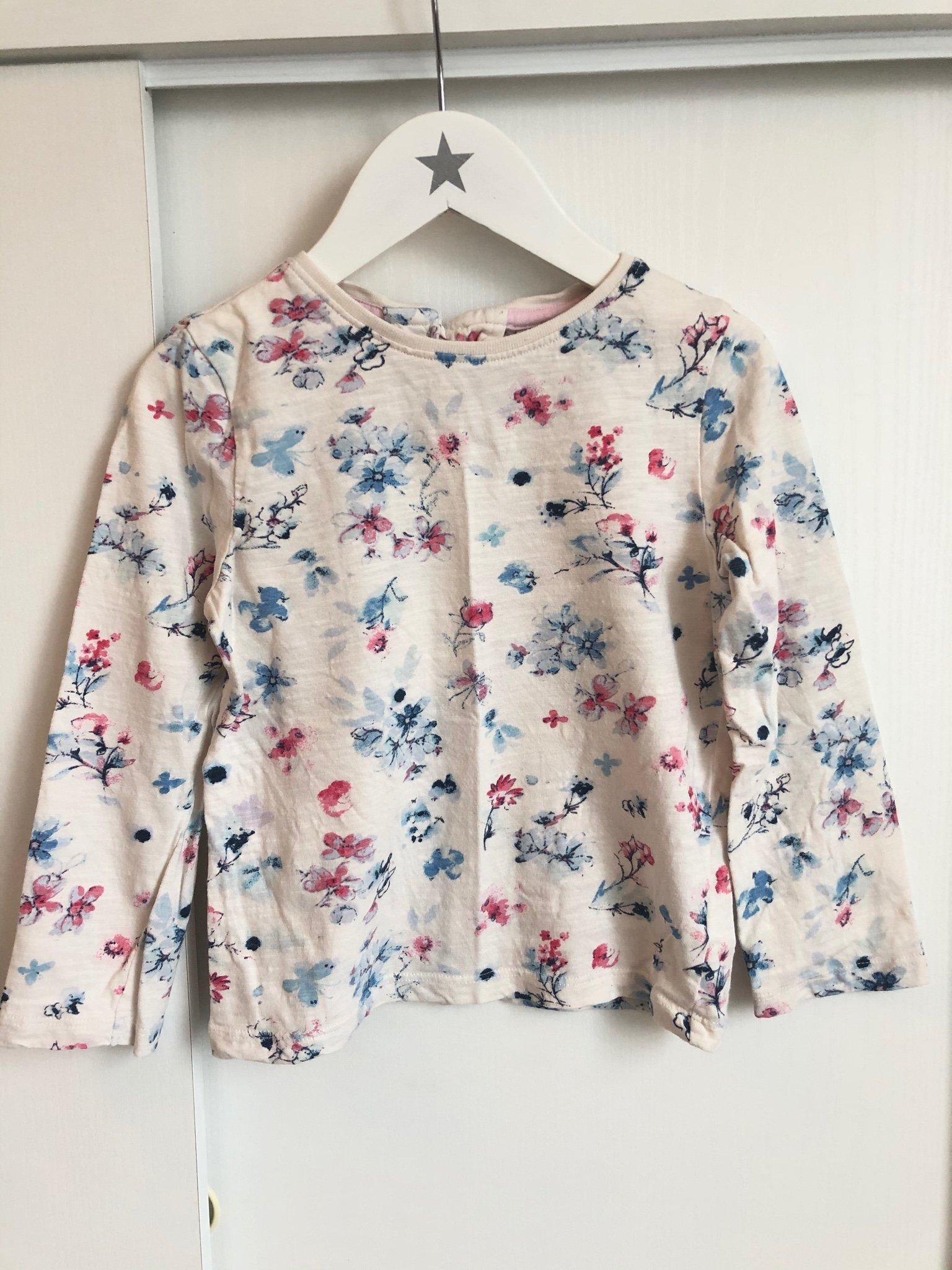 Blommig långärmad tröja stl 98 (2 3år) Next, bomullströja