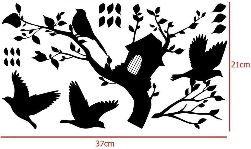 ( Väggdekor ) Fåglar, kvist och flygande löv löv löv 168696