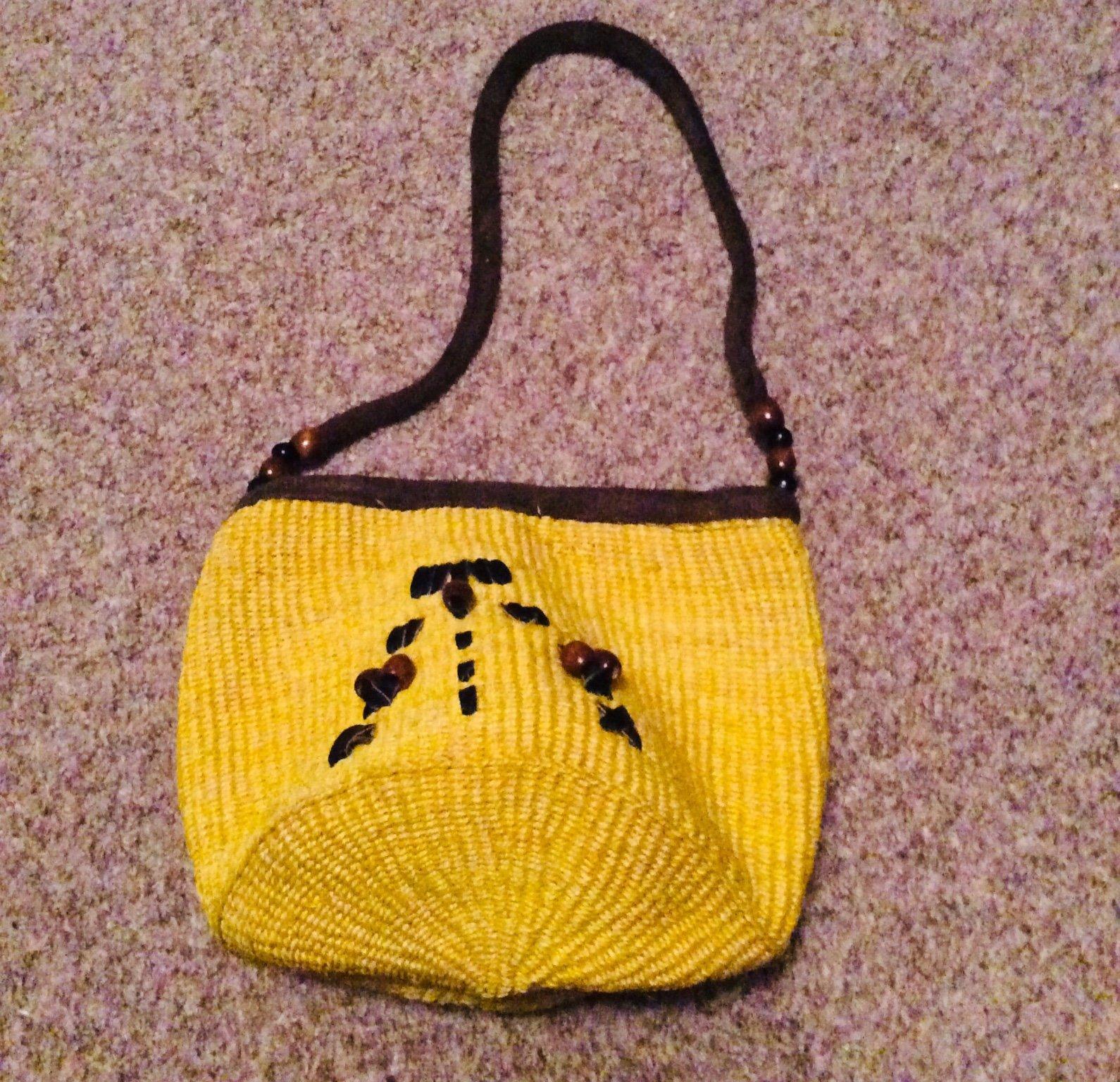 Afrikansk, små sisalväska, (gul) Oanvänd handväskadragkedja