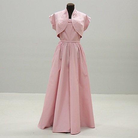 Vintage prickig klänning med vid kjol och bolero 50 tal