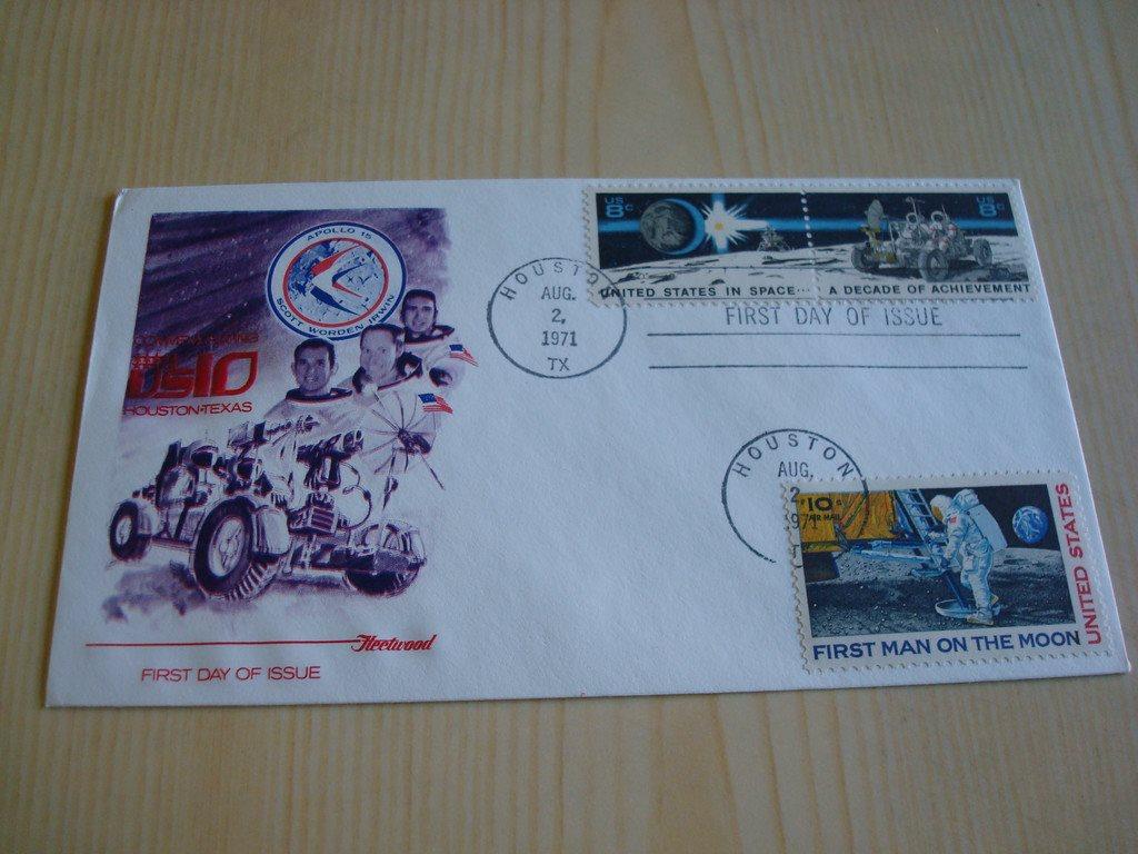 Apollo 15 USA 1971 förstadagsbrev 3 st. frimärken till exempel 1969