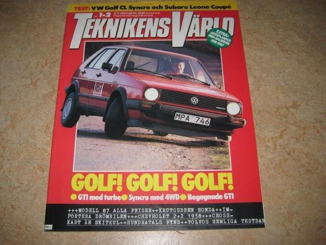 TEKNIKENS VÄRLD NR 1-2 1987   TEST:VW GOLF SYNCRO, M.FL