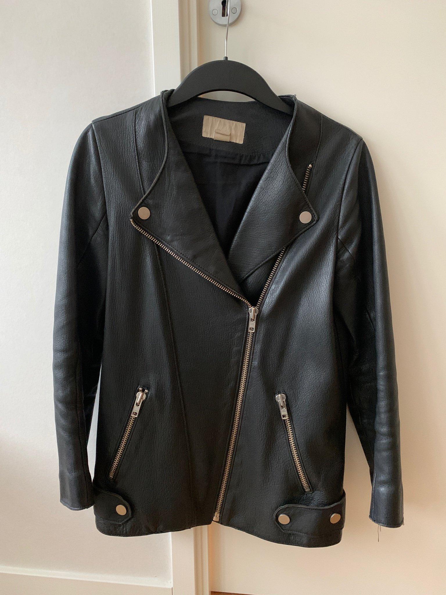 H&M trend oversize skinnjacka. Äkta läder! Stl 34 (421178699