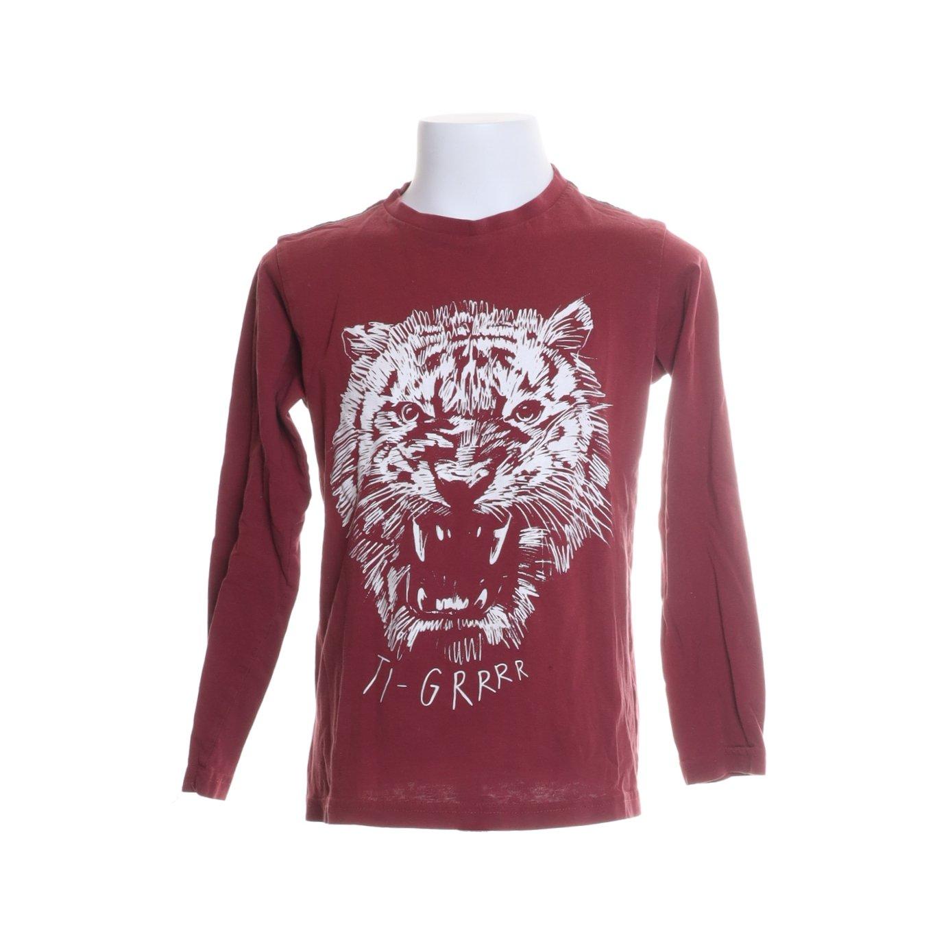 Åhléns, Långärmad T shirt, Strl: 122128, Röd, Ekologisk bomull