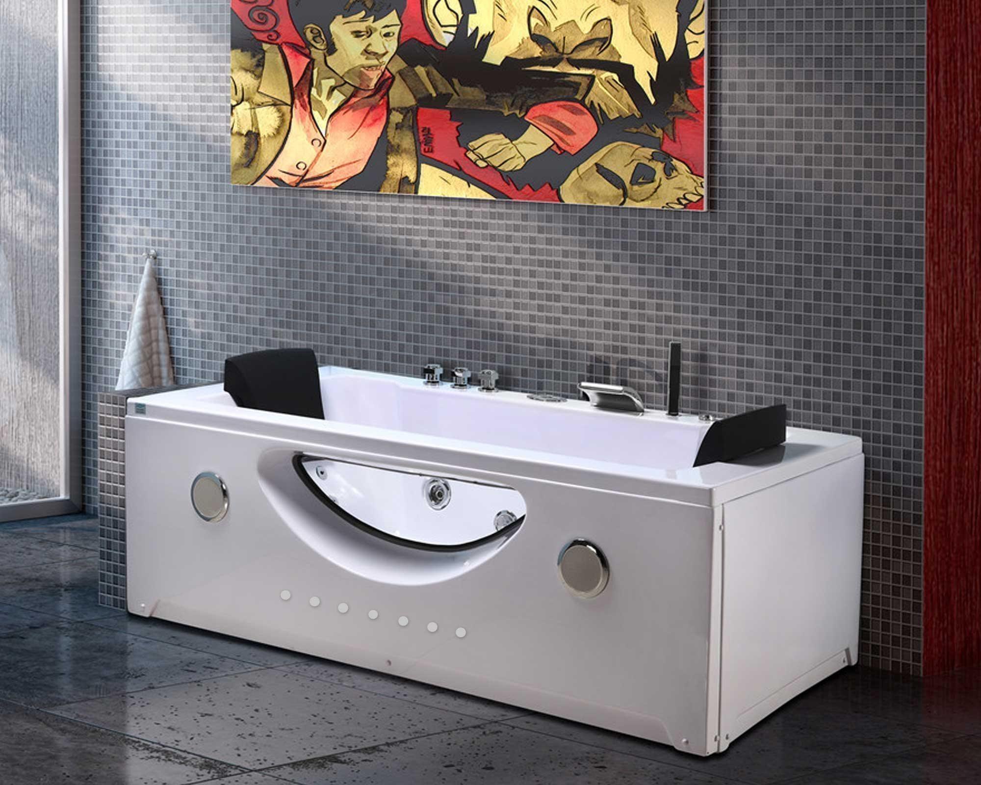 Bubbelbadkar hörn massagebadkar för 2 personer 180 x 190 cm - HARMONY Simba