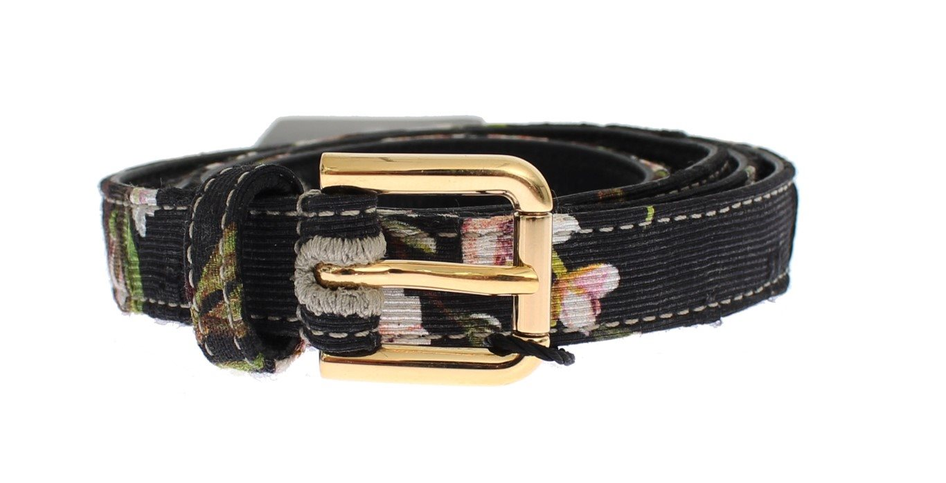 Dolce & Gabbana - Floral Print Leather Gold Buckle Logo Belt