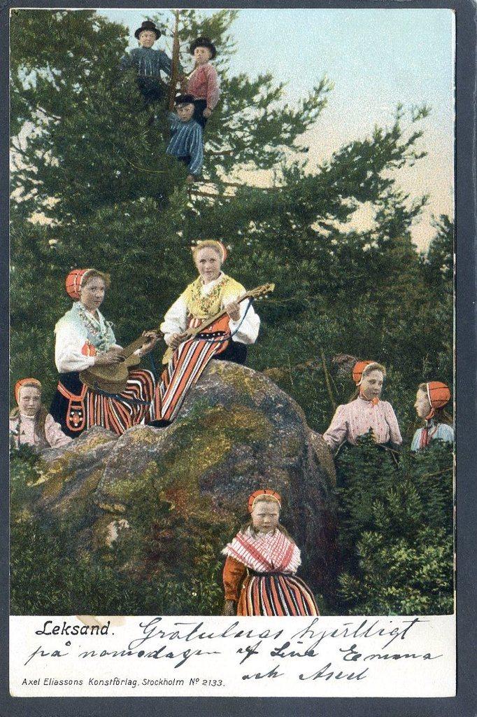 Leksand Musicerande kullor 3 masar med hatt i trädet Förlag Eliassons ca  1905 143fa50a4af6c