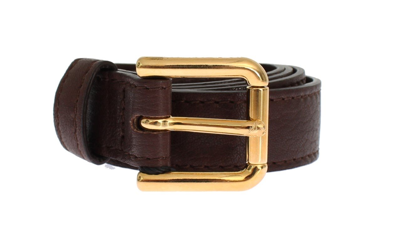 Dolce & Gabbana - Brown Leather Gold Buckle Logo Belt