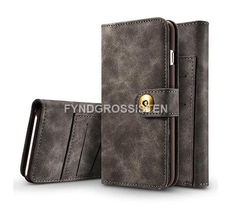 Läder Flip Plånbok Magnetisk 2 i 1 Fodral iPhone 5 5S SE - Grå Fri Frakt 1a320066ffcb0