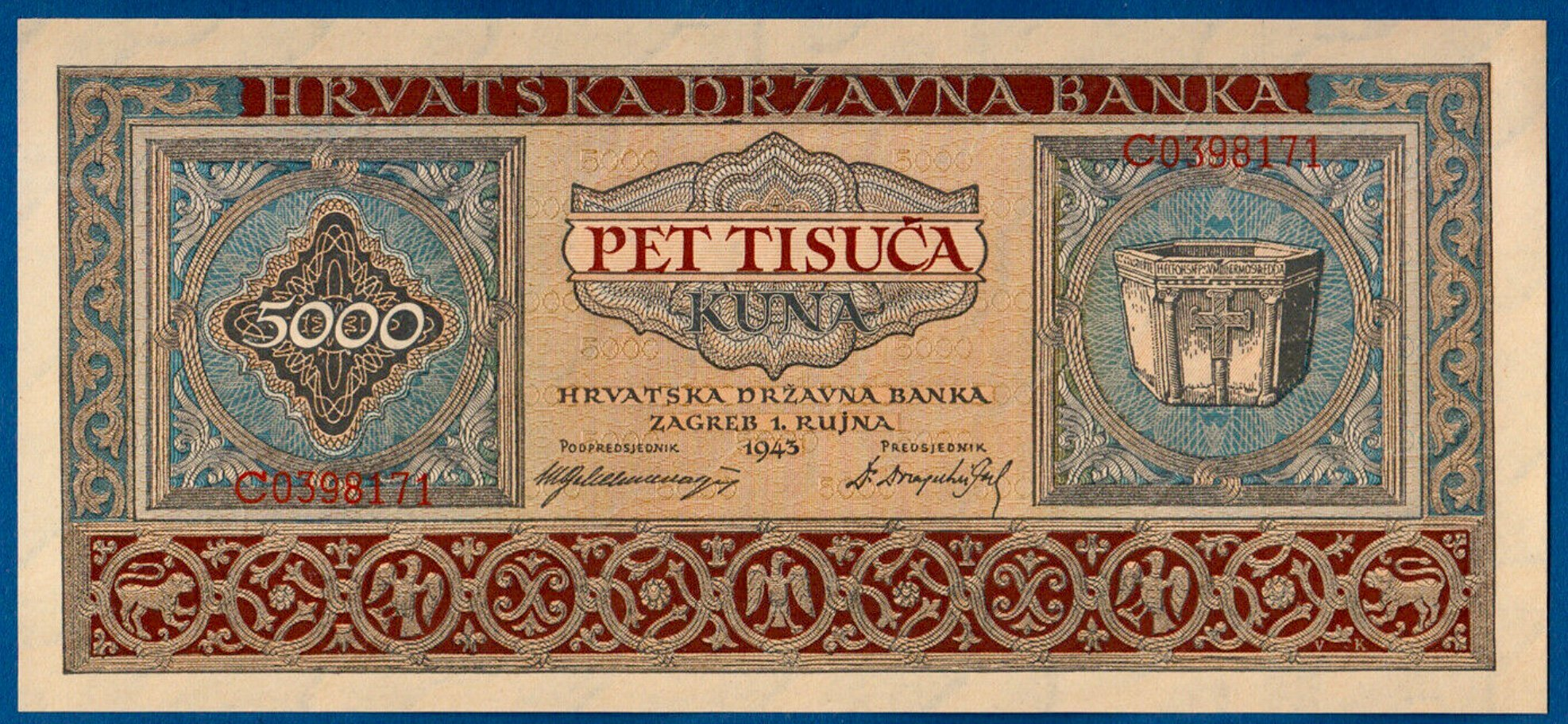 CROATIA 5000 5,000 KUNA 1943 P 13 UNC