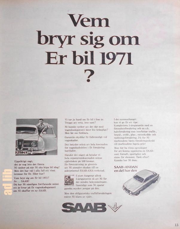 SAAB - VEM BRYR SEJ OM DIN BIL 1971  5-ÅRS GARA.. (268097922) ᐈ Köp ... 89d39d709b64f