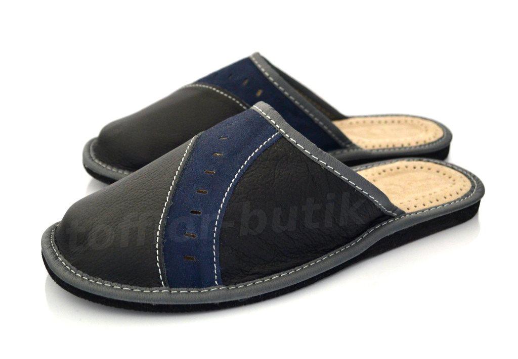 4b2e841f2a3 Nya herr tofflor herrskor blå toffel skor skinn läder sandaler inneskor Stl  43 ...