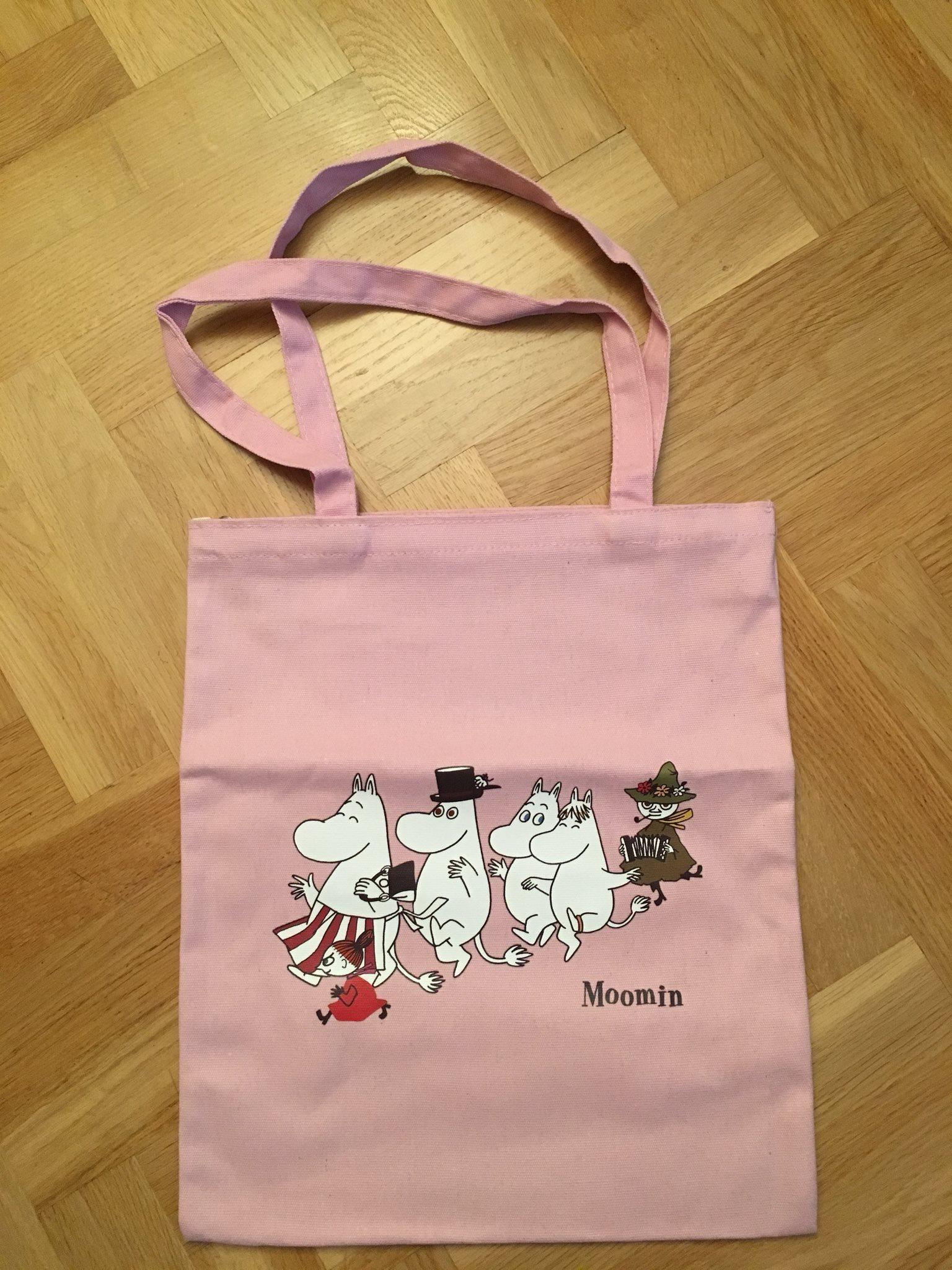 Helt NY Mumin Moomin tygväska m dragkedja rosa slitstark material