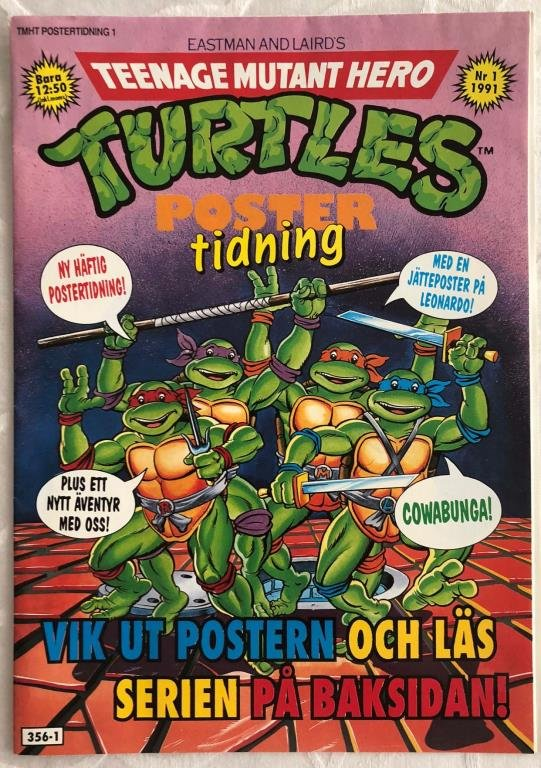 Teenage Mutant Hero Turtles Poster Tidning 1991 Nr 1 VF/NM