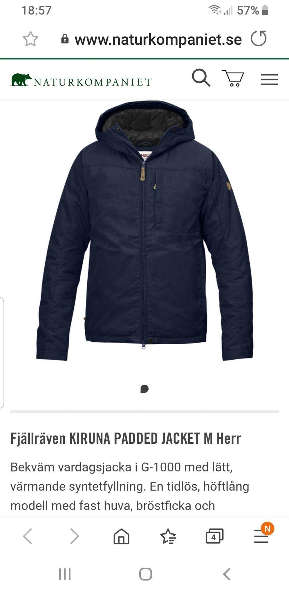 Fjällräven Kiruna Padded jacket,helt NY.Dark Navy.
