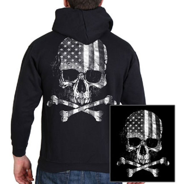 Flag Skull Zip Up Hooded Sweat Hoodie L.