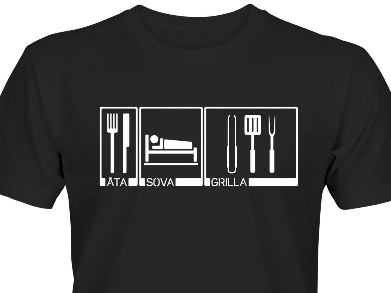 Äta Sova Grilla L Rolig T-Shirt Gåva Pr.. (339373347) ᐈ EatSleep på ... 4b63af2806785